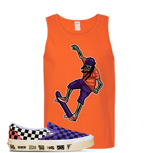 Vans Slip On Venice Beach Pack Tank Top | Orange, Skeleton Skateboarder