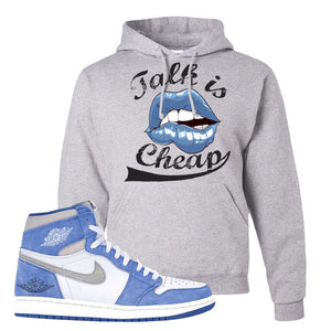 Air Jordan 1 High Hyper Royal Pullover Hoodie | Talk Is Cheap, Ash