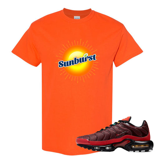 printed on the front of the air max plus sunburst sneaker matching safety orange tee shirt is the sunburst soda logo