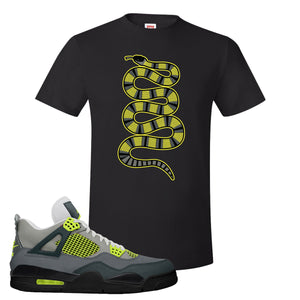 Jordan 4 Neon Sneaker Black T Shirt | Tees to match Nike Air Jordan 4 Neon Shoes | Coiled Snake