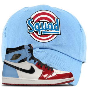 Air Jordan 1 Fearless Squad Sky Blue Made to Match Distressed Dad Hat