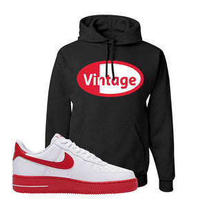 Air Force 1 Low Red Bottoms Hoodie | Black, Vintage Oval