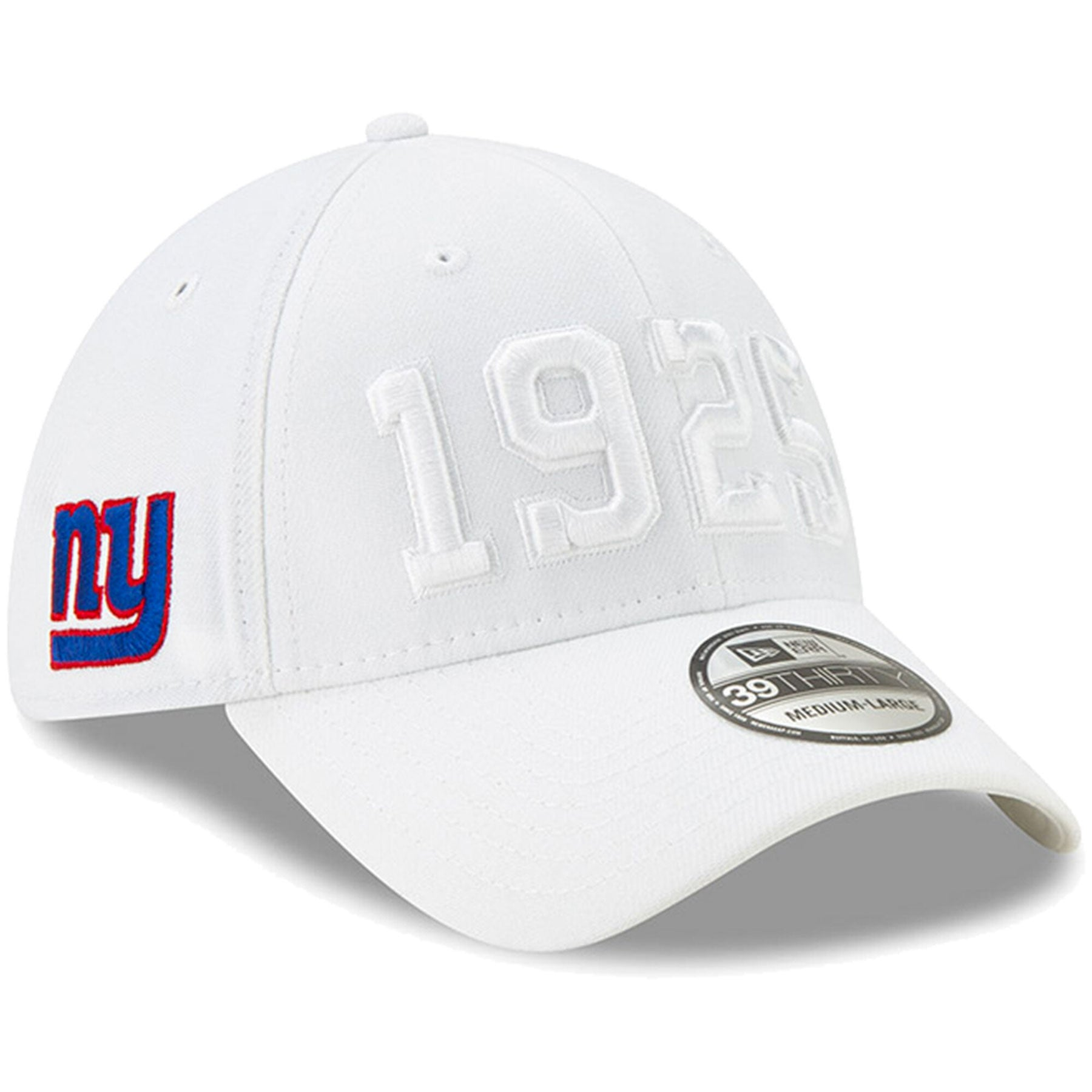 d4166216 New York Giants New Era 2019 NFL On Field Sideline Color Rush 39THIRTY  White Flex Hat