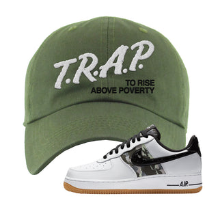 Air Force 1 Low Camo Dad Hat | Trap To Rise Above Poverty, Olive