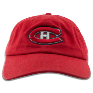 Embroidered on the front of the Montreal Canadiens red baseball cap is the Canadiens logo