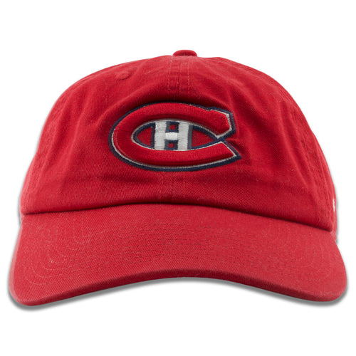 fa7a355b5769ec Embroidered on the front of the Montreal Canadiens red baseball cap is the  Canadiens logo