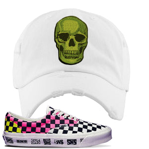 Vans Era Venice Beach Pack Distressed Dad Hat | White, Skull