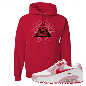 Air Max 90 Love Letter Hoodie | All Seeing Eye, Red