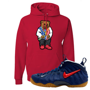 Air Foamposite Pro USA Hoodie | Red, Sweater Bear