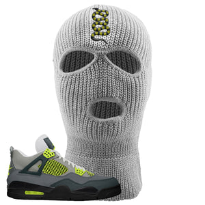 Jordan 4 Neon Ski Mask | Light Gray, Coiled Snake