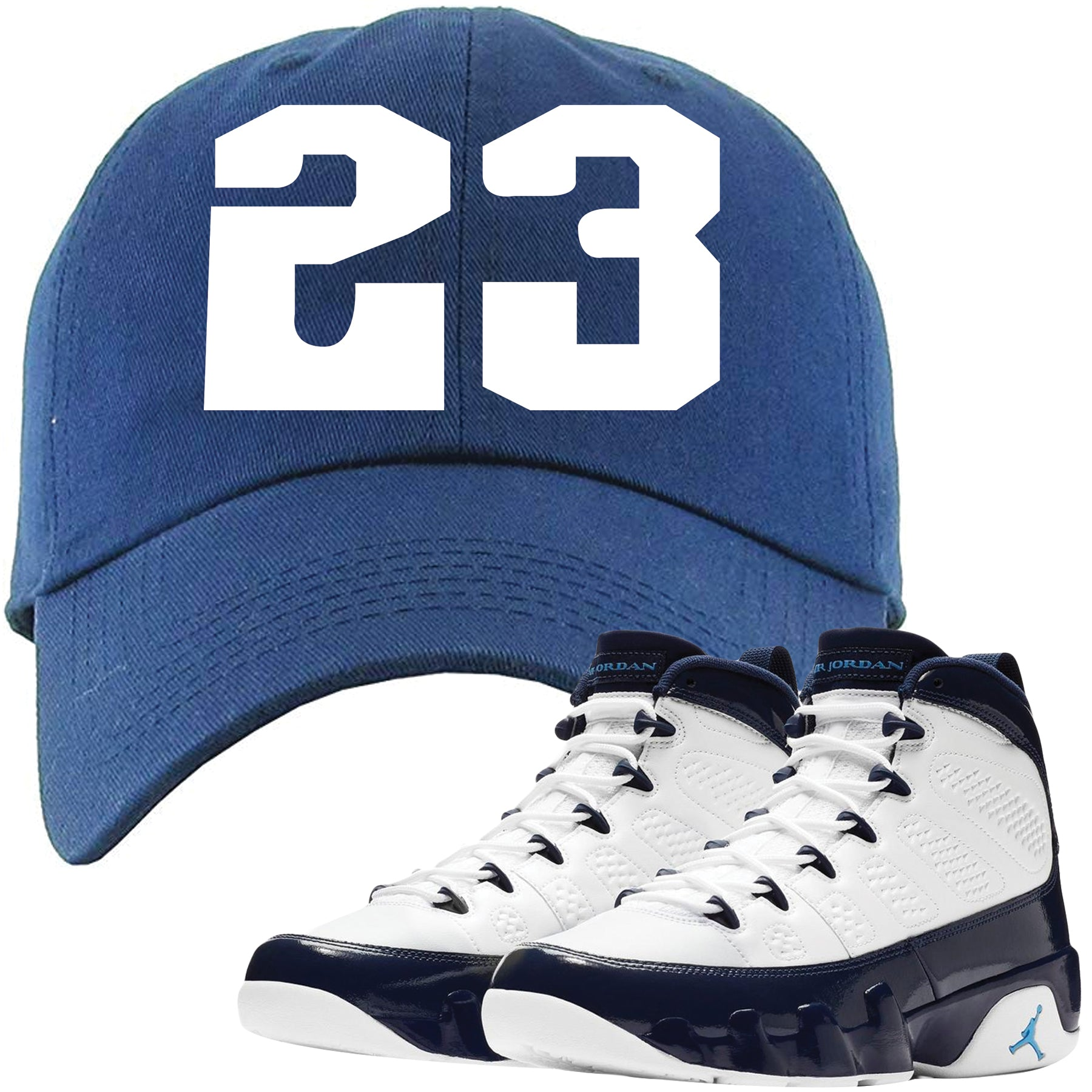competitive price f967d 12992 Jordan 9 All Star UNC Blue Pearl Sneaker Matching 23 Navy Blue Dad Hat
