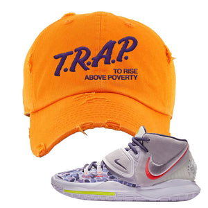 Kyrie 6 Asia Irving Distressed Dad Hat | Trap To Rise Above Poverty, Orange