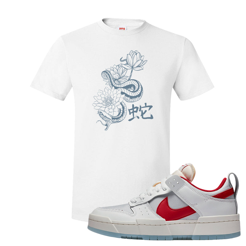 Dunk Low Disrupt Gym Red T Shirt | Snake Lotus, White