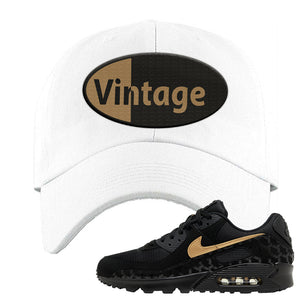 Air Max 90 Black Gold Dad Hat | Vintage Oval, White