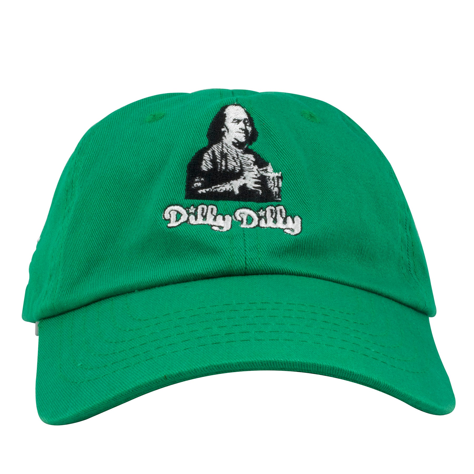 0165ed569bf Embroidered on the front of the Benjamin Franklin Dilly Dilly kelly green  adjustable dad hat is