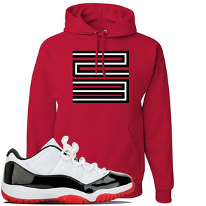 Jordan 11 Low White Black Red Sneaker Red Pullover Hoodie | Hoodie to match Nike Air Jordan 11 Low White Black Red Shoes | Jordan 11 23