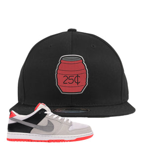 Nike SB Dunk Low Infrared Orange Label Quarter Water Black Snapback Hat To Match Sneakers