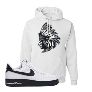 Air Force 1 Low White Black Hoodie | White, Indian Chief