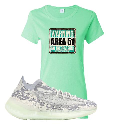 Yeezy Boost 380 Alien Area 51 Sign Mint Green Sneaker Matching Women's T-Shirt