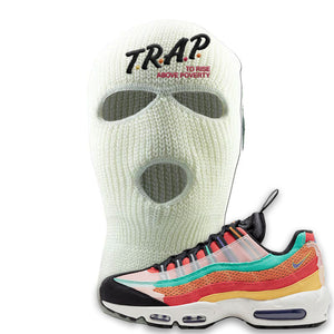 Air Max 95 Black History Month Sneaker White Ski Mask | Winter Mask to match Nike Air Max 95 Black History Month Shoes | Trap To Rise Above Poverty