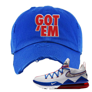 LeBron 17 Low Tune Squad Sneaker Royal Blue Distressed Dad Hat | Hat to match Nike LeBron 17 Low Tune Squad Shoes | Got Em