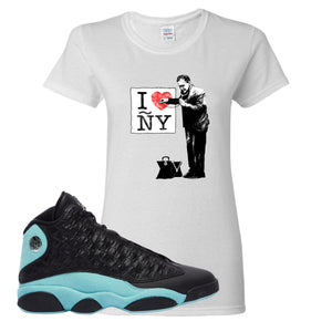 I Heart ÑY Doctor White Women's T-Shirt To Match Jordan 13 Island Green Sneakers