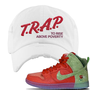 SB Dunk High 'Strawberry Cough' Distressed Dad Hat | White, Trap To Rise Above Poverty