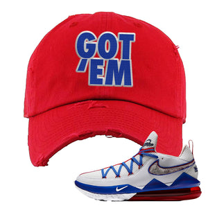 LeBron 17 Low Tune Squad Sneaker Red Distressed Dad Hat | Hat to match Nike LeBron 17 Low Tune Squad Shoes | Got Em