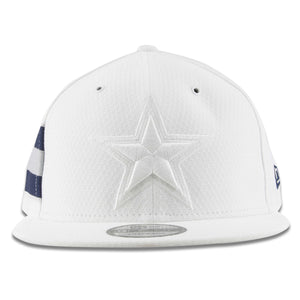 Embroidered on the front of the white Dallas Cowboys 2018 9Fifty Draft Snapback Hat is the Dallas Cowboys logo in white