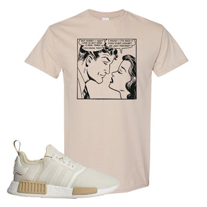 NMD R1 Chalk White Sneaker Sand T Shirt | Tees to match Adidas NMD R1 Chalk White Shoes | Fake Love Comic