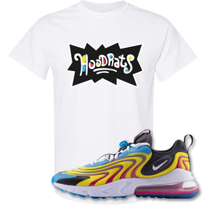 Hood Rats White T-Shirt to match Air Max 270 React ENG Laser Blue Sneakers