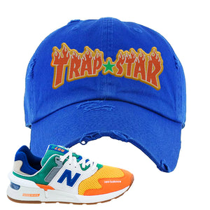 997S Multicolor Sneaker Royal Distressed Dad Hat | Hat to match New Balance 997S Multicolor Shoes | Trap Star