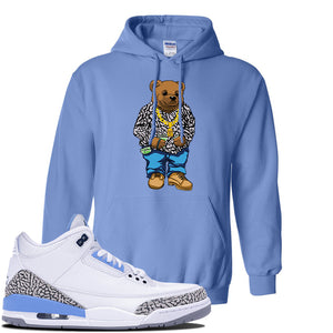 Jordan 3 UNC Sneaker Carolina Blue Pullover Hoodie | Hoodie to match Nike Air Jordan 3 UNC Shoes | Sweater Bear