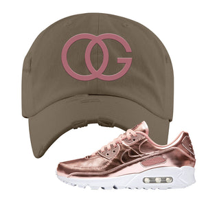 Air Max 90 WMNS 'Medal Pack' Rose Gold Sneaker Khaki Distressed Hat | Hat to match Nike Air Max 90 WMNS 'Medal Pack' Rose Gold Shoes | OG