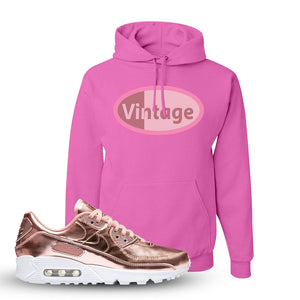 Air Max 90 WMNS 'Medal Pack' Rose Gold Sneaker Pink Pullover Hoodie | Hoodie to match Nike Air Max 90 WMNS 'Medal Pack' Rose Gold Shoes | Vintage Oval