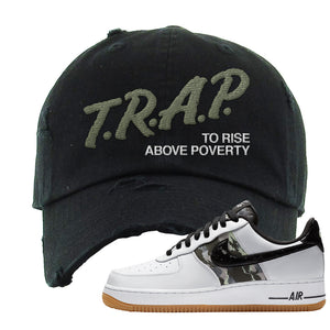 Air Force 1 Low Camo Distressed Dad Hat | Trap To Rise Above Poverty, Black