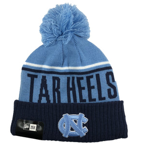 embroidered on the front of the unc tarheels winter fleece-lined beanie is the UNC logo embroidered in carolina blue