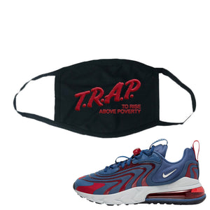 Air Max 270 React ENG Mystic Navy Face Mask | Trap To Rise Above Poverty, Black