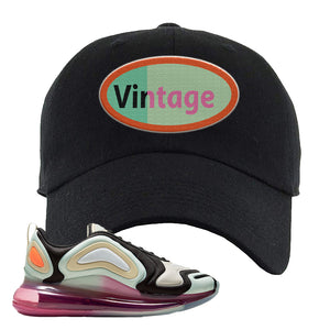 Air Max 720 WMNS Black Fossil Sneaker Black Dad Hat | Hat to match Nike Air Max 720 WMNS Black Fossil Shoes | Vintage Oval