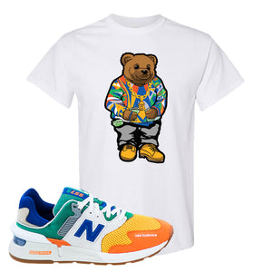 997S Multicolor Sneaker White T Shirt | Tees to match New Balance 997S Multicolor Shoes | Sweater Bear