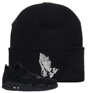 Air Jordan 4 Black Cat Praying Hands Black Made to Match Beanie