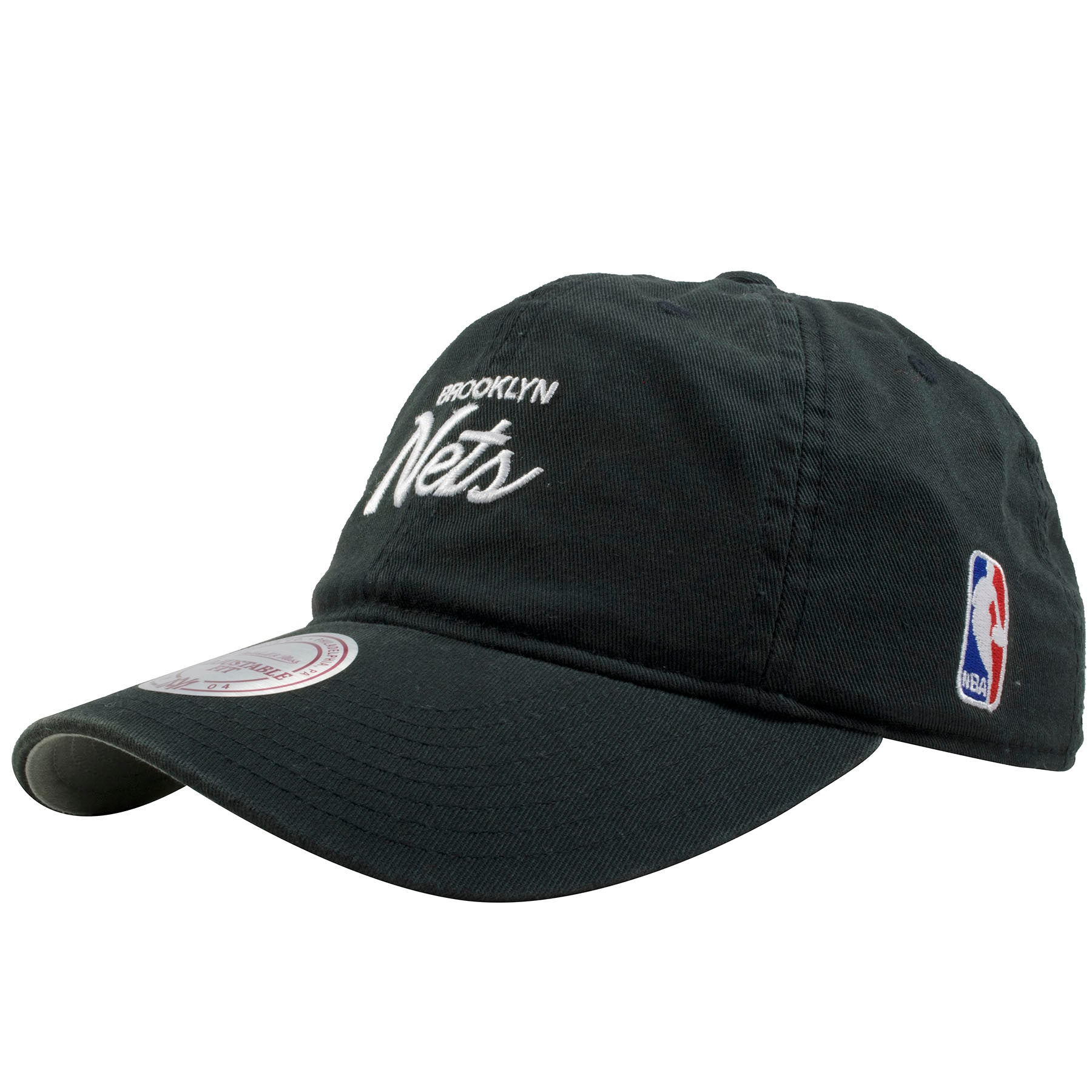 7b4d8a034d5 ... the left side of the Brooklyn Nets Mitchell and Ness script black dad  hat is the ...