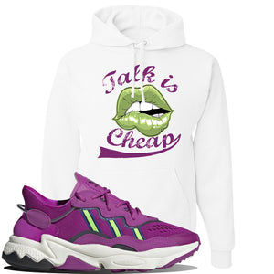 Ozweego Vivid Pink Sneaker White Pullover Hoodie | Hoodie to match Adidas Ozweego Vivid Pink Shoes | Talk is Cheap