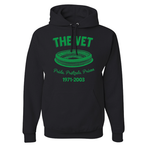 The Vet Pride, Pretzels, Prison Pullover Hoodie | Veterans Stadium Black Pullover Sweatshirt the front of this pullover hoodie has the vet stadium