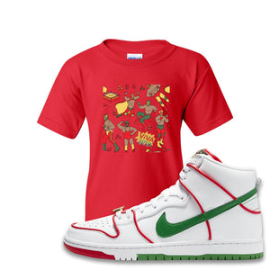 Paul Rodriguez's Nike SB Dunk High Sneaker Red Kid's T Shirt | Kid's Tees to match Paul Rodriguez's Nike SB Dunk High Shoes | Luchadors