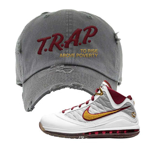 LeBron 7 MVP Distressed Dad Hat | Dark Gray, Trap To Rise Above Poverty