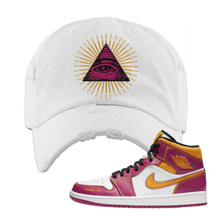 Air Jordan 1 Mid Familia Distressed Dad Hat | All Seeing Eye, White