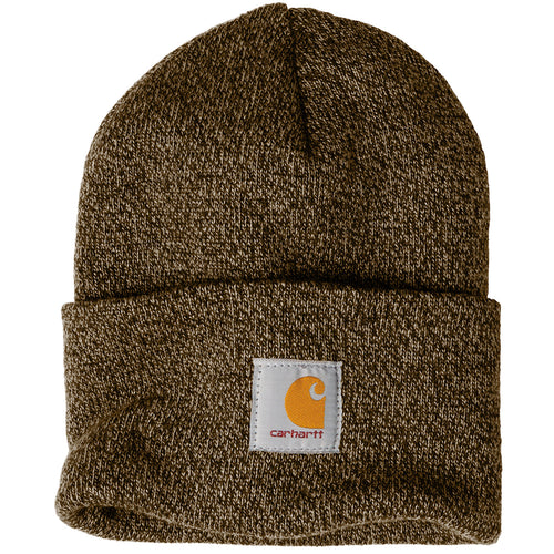 d8ed8d4f987e7 Stitched on the front of the Carhartt raised cuff knit winter watch hat is  the Carhartt