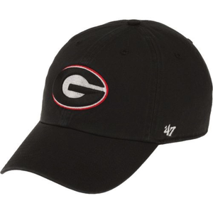 Embroidered on the front of the georgia bull dogs '47 brand dad hat is the university of georgia logo embroidered in black, white, and red