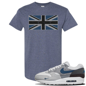 Air Max 1 London City Pack T Shirt | Heather Navy, Union Jack Flag